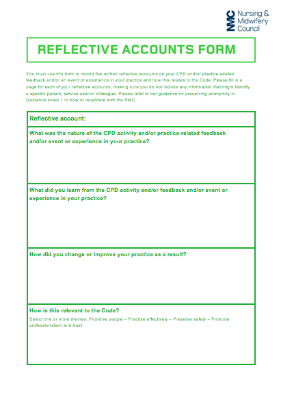 performance in practice and reflective account Feedback and/or an event or experience in your practice and how this relates to  the code please fill in a page for each of your reflective accounts, making sure  you do not include any information  improve your performance.
